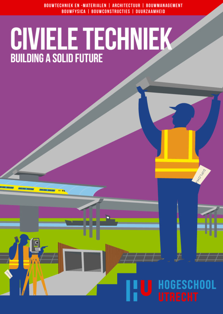 Poster design for studies in building and building management and evironmental éducation. illustration civil engineering