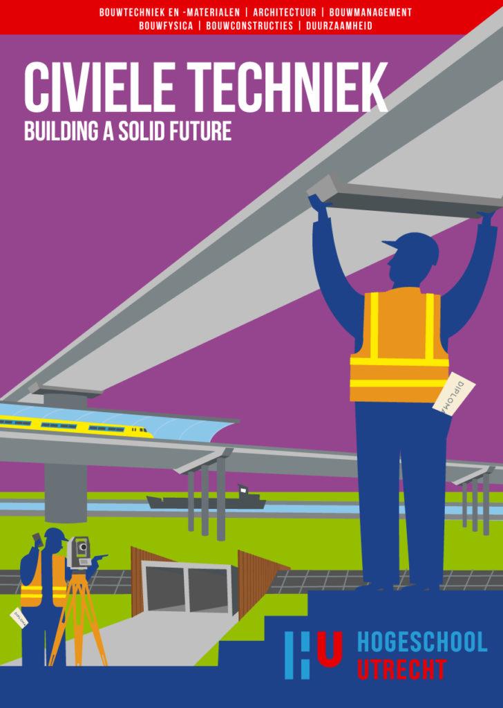 Poster ontwerp en illustraties t.b.v. verschillende bouw studies, bouw management studies, civiele techniek, HU, Hogeschool Utrecht