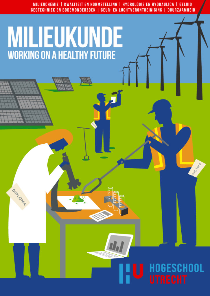 Poster ontwerp en illustraties t.b.v. verschillende studies, milieukunde, bouw management studies, bouwtechnische bedrijfskunde, HU, Hogeschool Utrecht