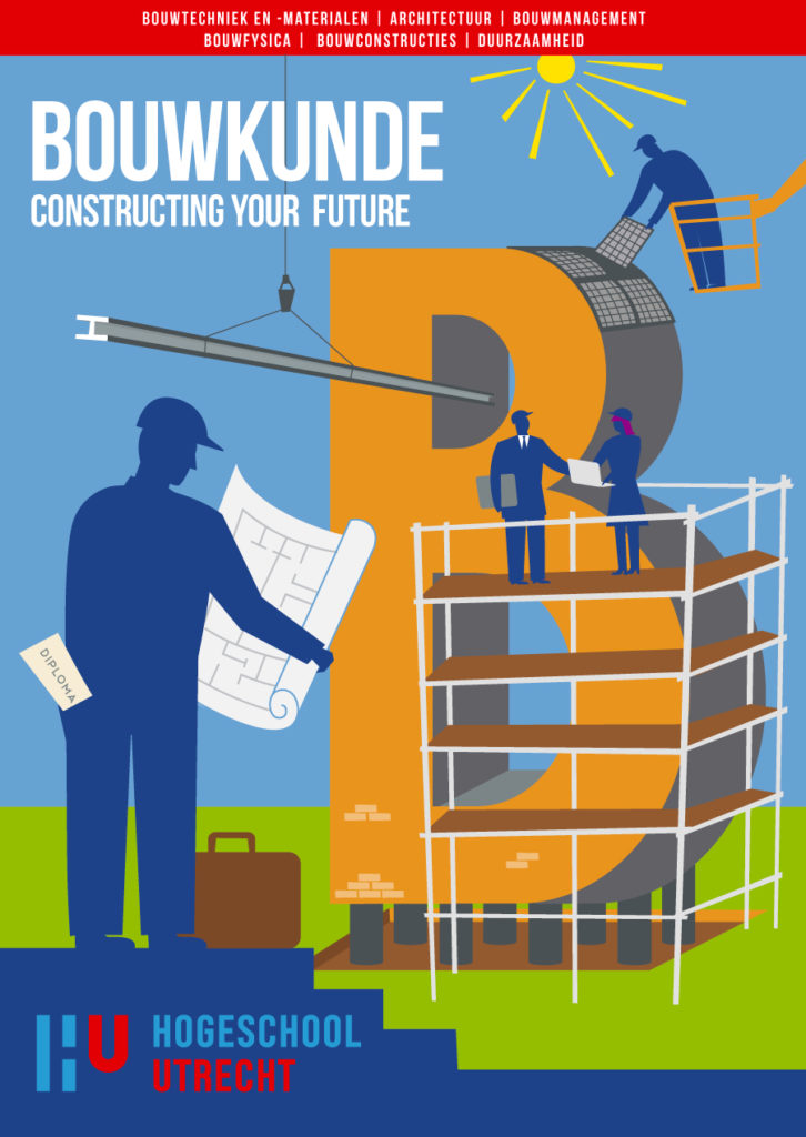 Poster design for studies in building and building management and evironmental éducation. illustration building engineering