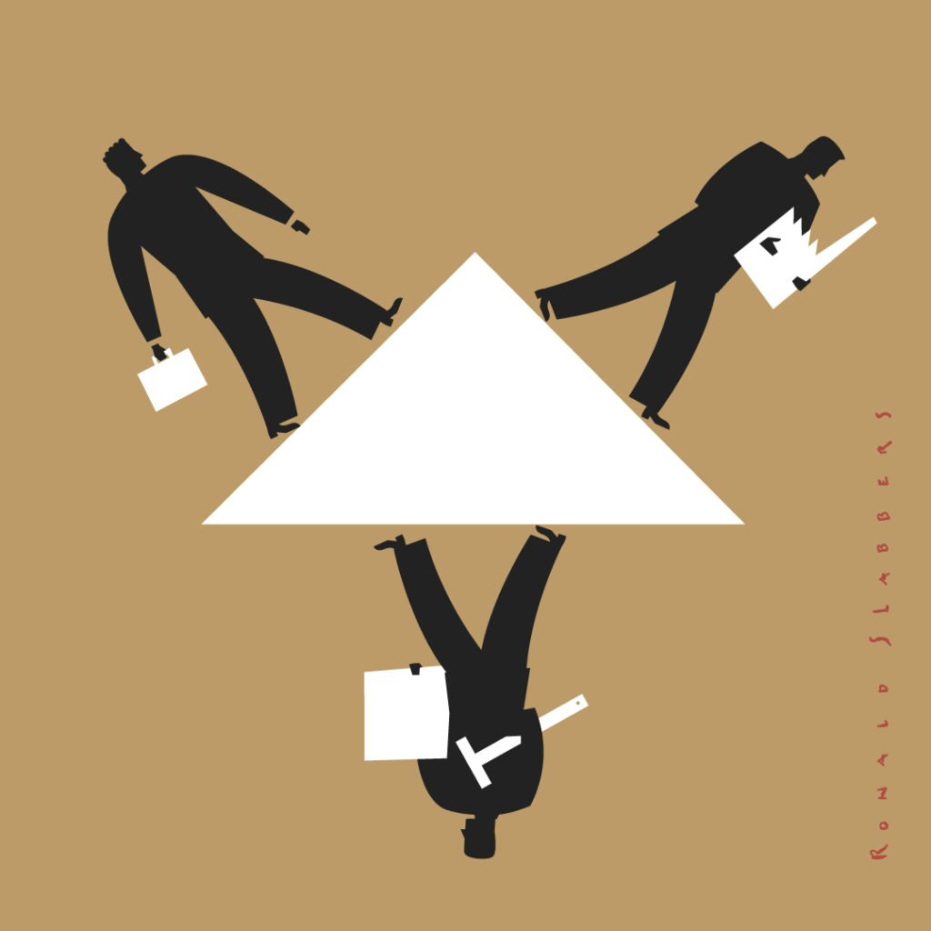 Pictogram business triangle, architect, builder finance