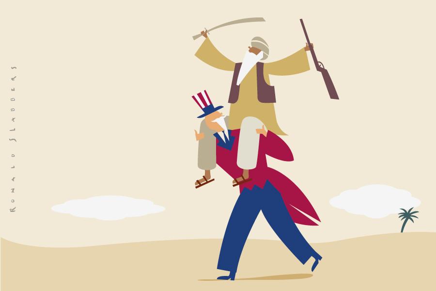Redactionele illustratie: Hoe de VS Pakistan steunen tegen Al Qaida. De politieke spelletjes van Pakistan Uncle Sam, war on terror