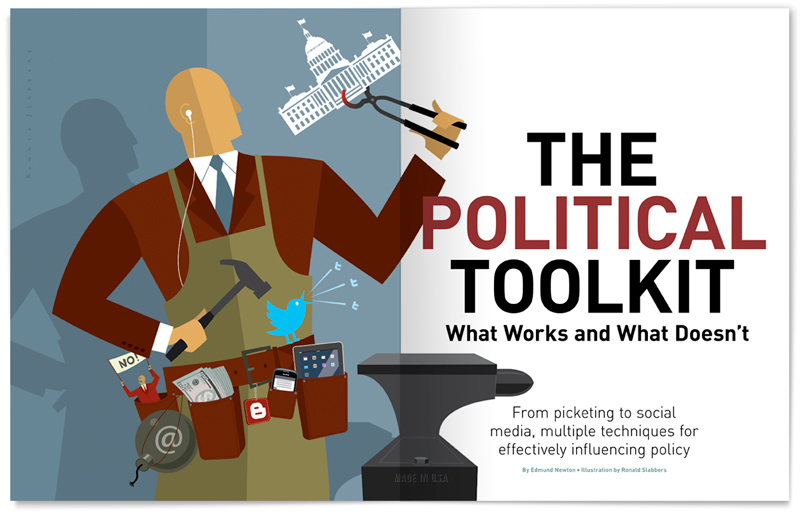 'The Political Toolkit' Editorial illustration Forward Magazine on the strategy and tactics lobbyists from the metal industry use to get their policy passed through the US house. Capitol building, congress
