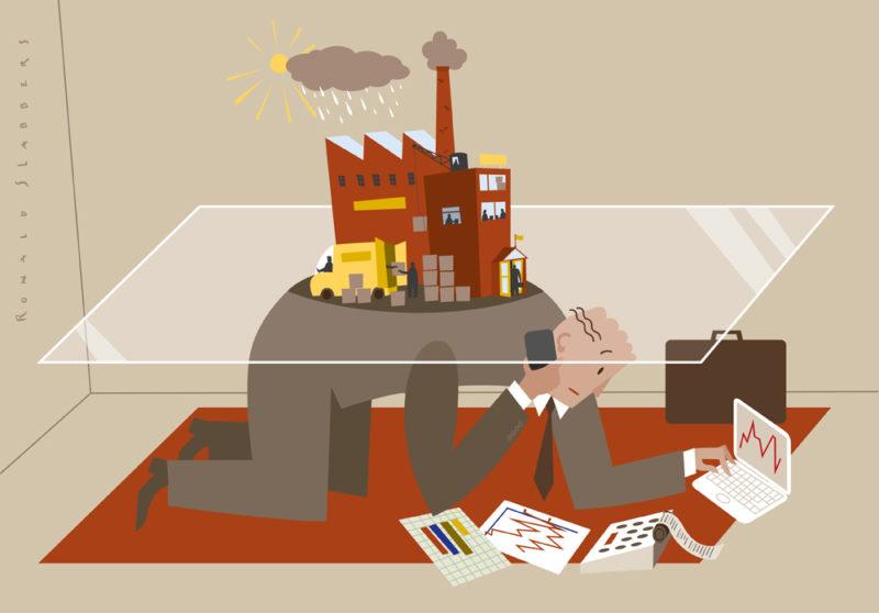 'Stille bewindvoerder' helpt bedrijven door moeilijke tijden te begeleiden zonder dat ze failliet gaan. accountant met papieren, bedrijf in nood
