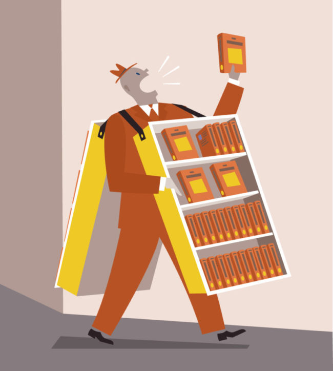 conceptual editorial illustration of a book vendor, book seller selling books in the streets like a sandwichman