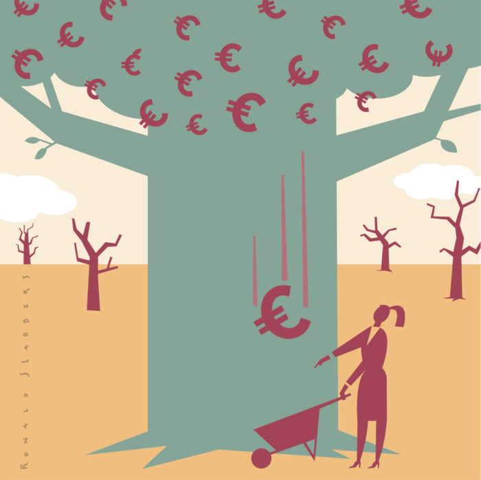 illustration of a fat tree growing money, euro signs grow in the tree.
