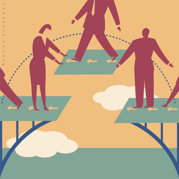 illustration of people, empoyees, staff, building bridge together. Building bridges. Continuity