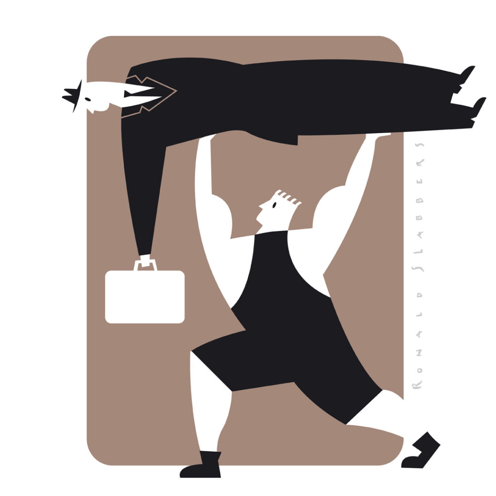 Pictogram illustrations 'executive life' for magazine. Pictogram of a man sleeping with his car, pictogram of a personal trainer lifting a business man