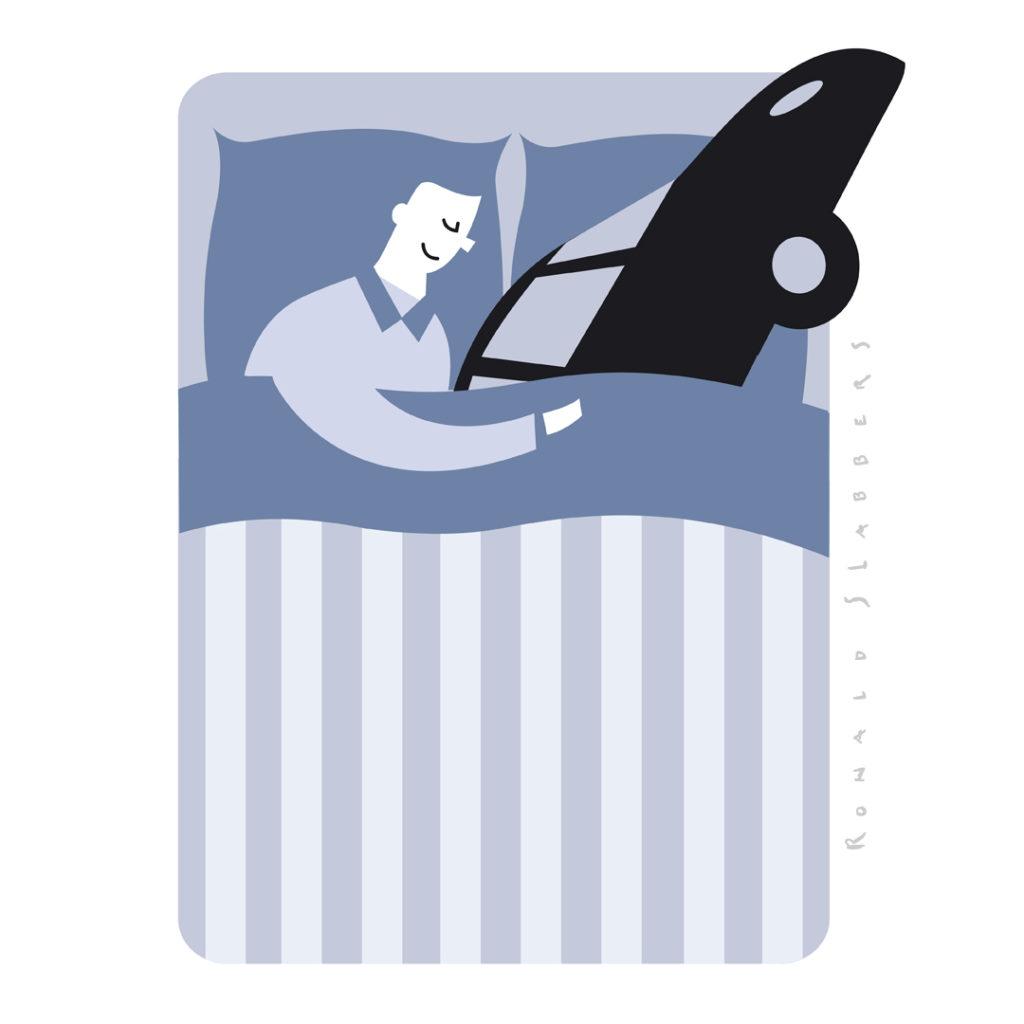 pictogram illustratie. Een man slaapt in bed met zijn auto naast zich