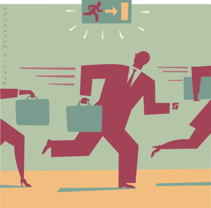 editorial Illustration of bankers escaping through an emergency plan, exit sign, escape way for bankers