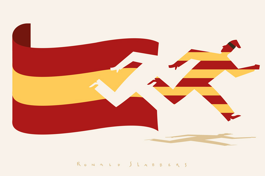 Editorial conceptual illustration about Catalonia wanting to separate from Spain.