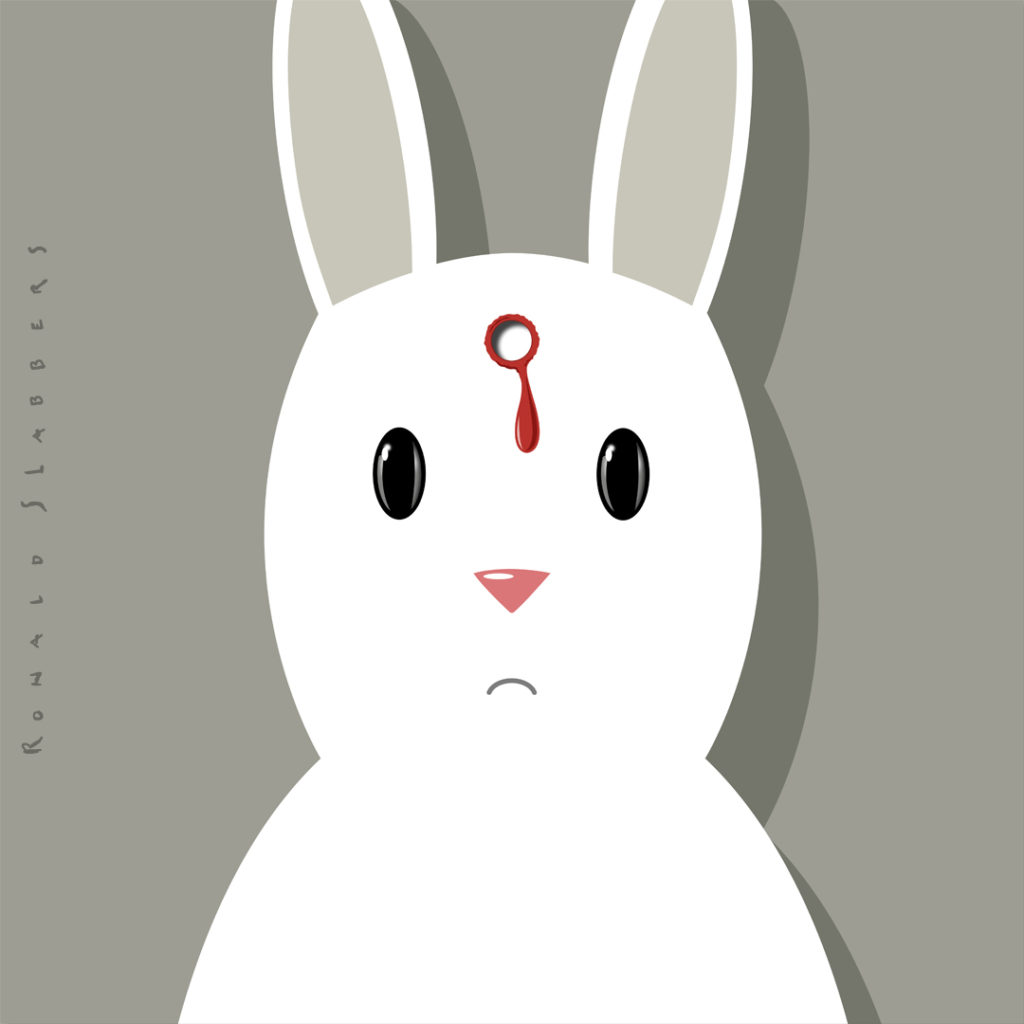 illustration, artprint of a dead rabbit. Rabbit looking into the camera with bullit hole in his head
