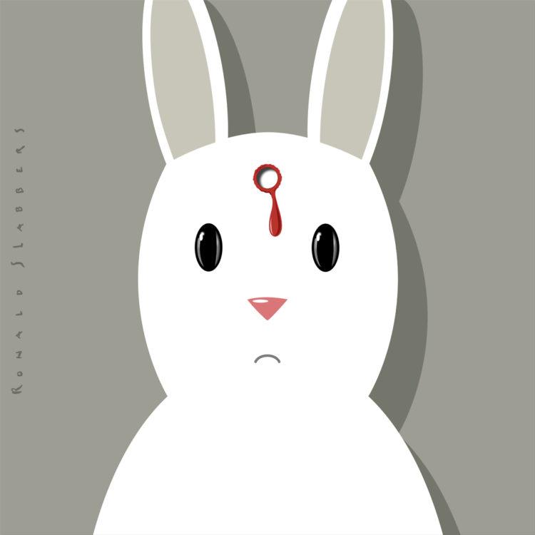 afbeelding, illustratie, print van een dood konijn met kogelgat in het hoofd.