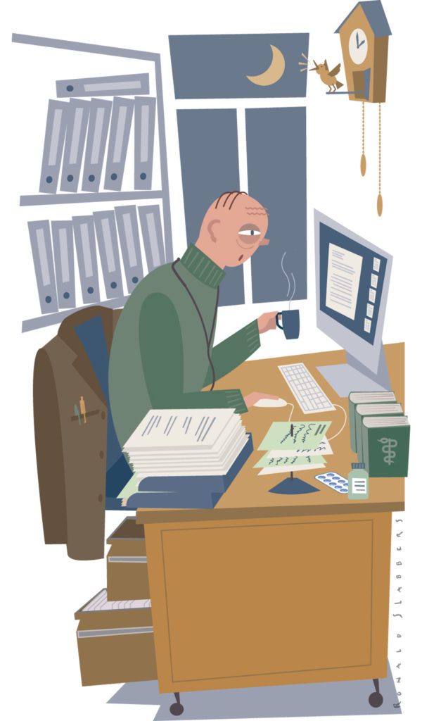 doctors always work, day and night, all of the time. a doctor behind his desk at night.