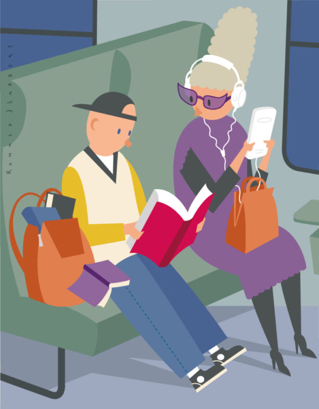 conceptual editorial illustration of an older lady with e-reader, ipad. a young boy reading a paper book instead of a tablet
