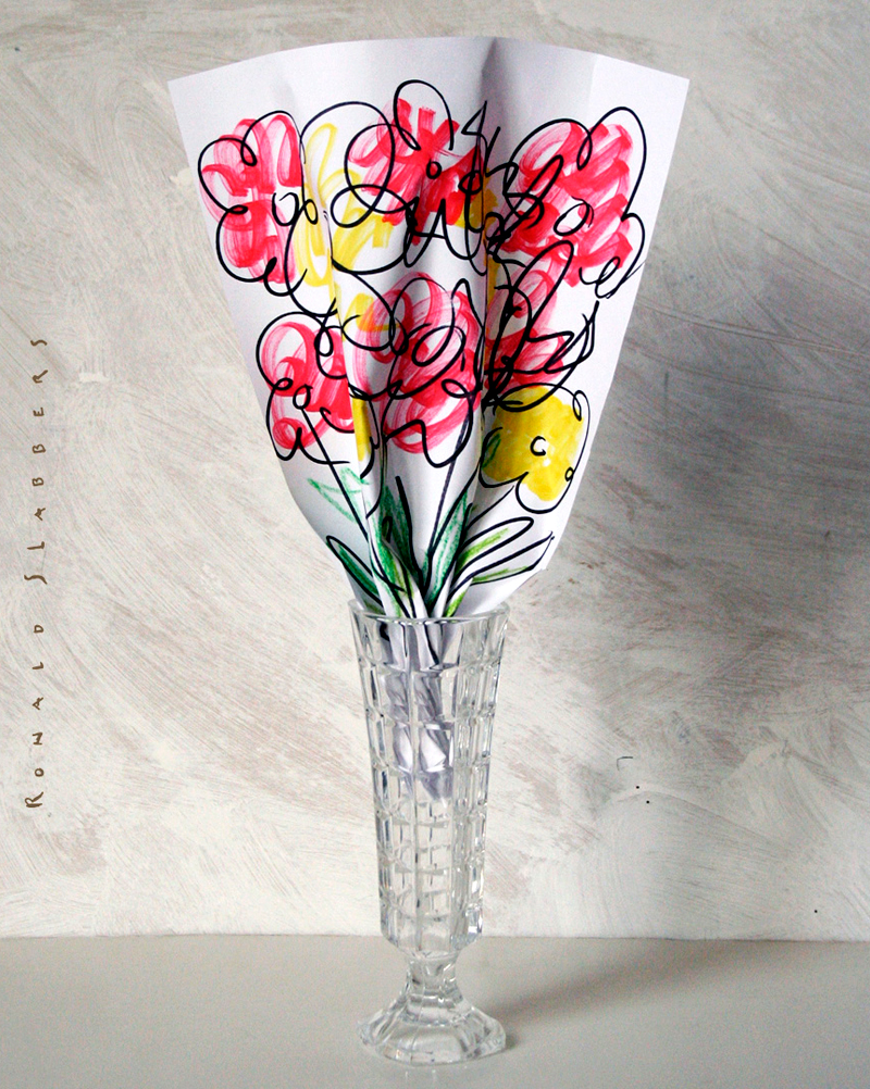 hand drawn illustrated flowers on a sheet of paper, in a real glass flower vase. How to save your marriage