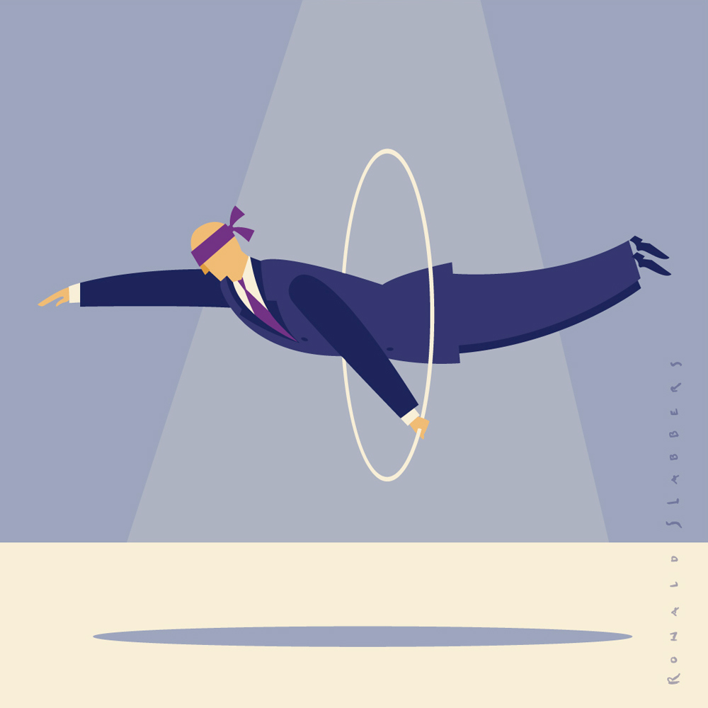 'Business Tricks' illustration of a blindfolded business man jumping through a hoop. impossible act.