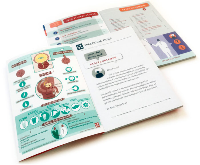 medische infographic over de prostaat, sexuele klachten, plasklachten, erectieproblemen