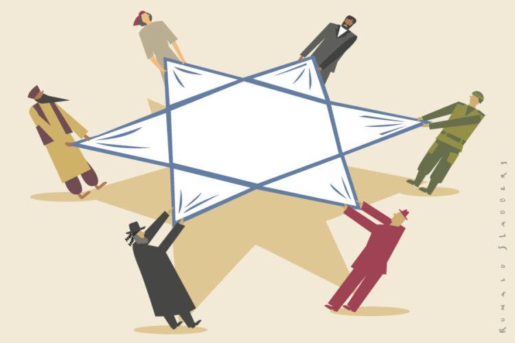 conceptuele redactionele illustratie, Israel heden en toekomst. Palestina, oorlog, Iran, Gaza, bombardementen, vergelding, vergeldingsaanvallen