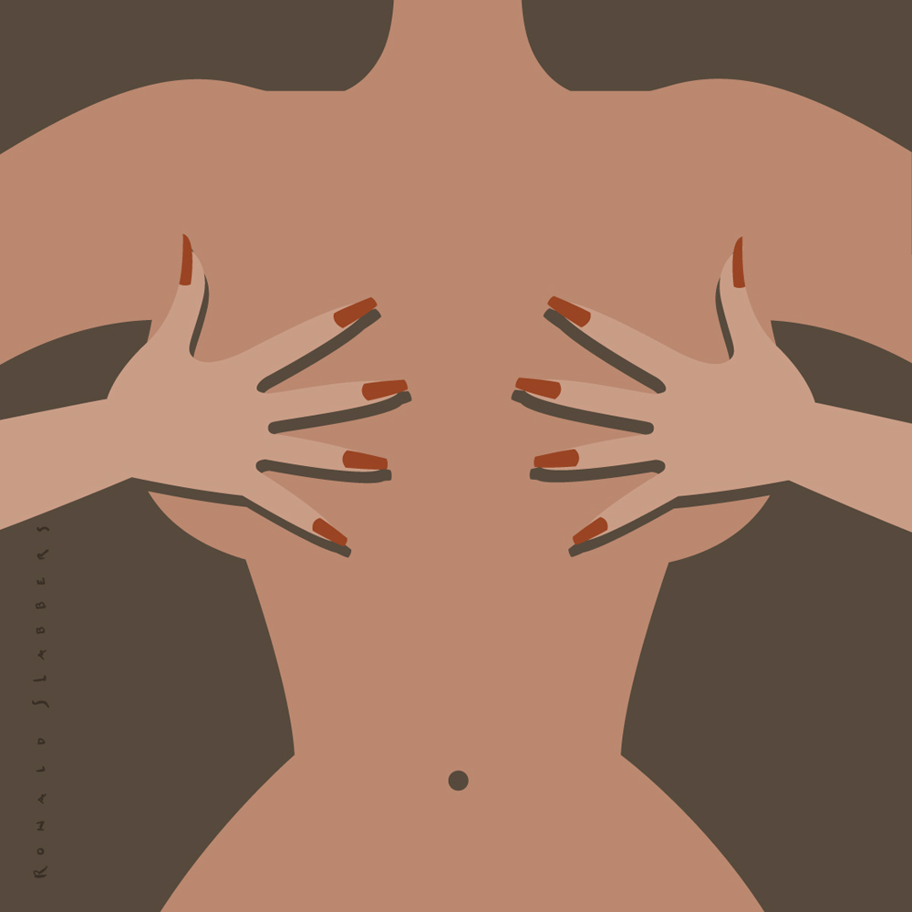 Pictogram spot illustration, Marloes Dekkers (Lingerie Designer) in Financial Trouble. a woman hiding her breasts hehind her hands, handsbra hands-bra