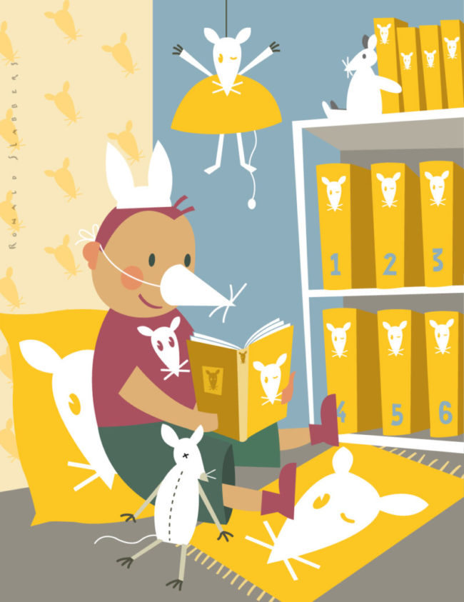 conceptual editorial illustration, merchandising and the children's book market. illustration of a boy reading a book while he is surrounded by character dolls, toys,