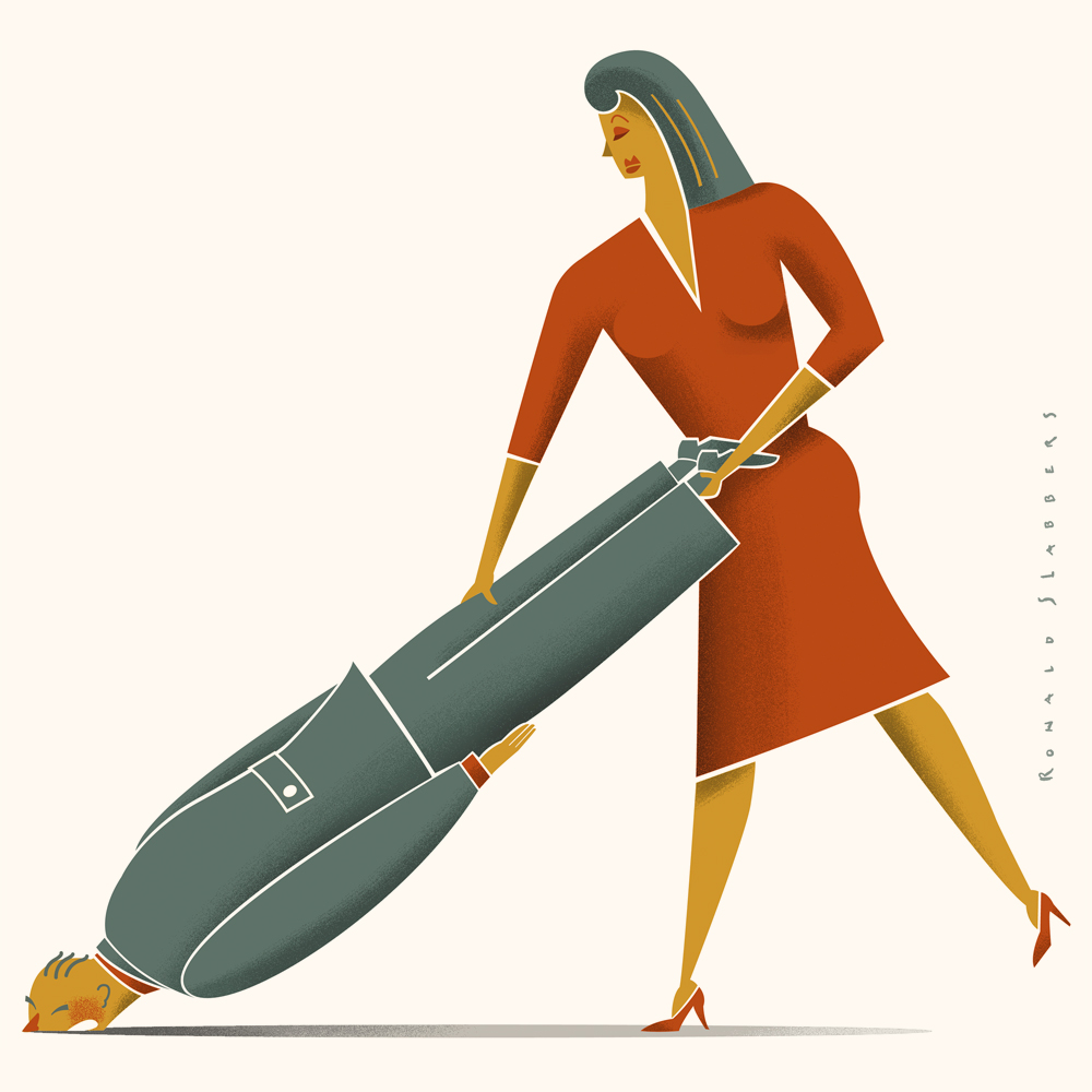 mothersday or fathersday, illustration of a woman vacuum cleaning with her husband
