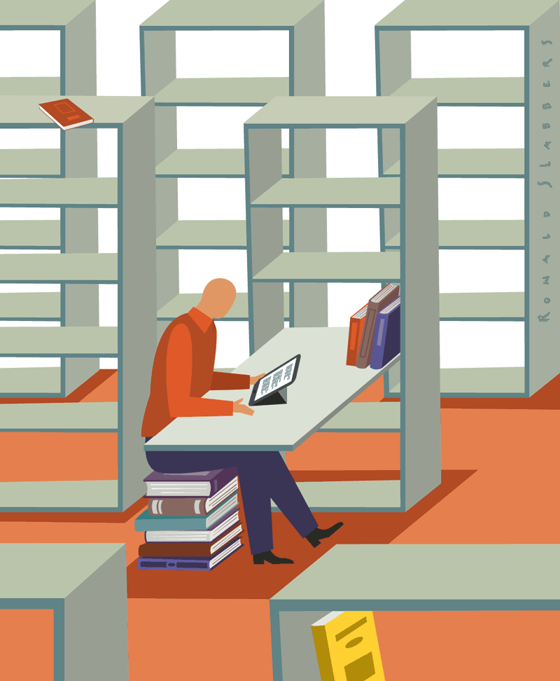 Paper vs e-books, illustration of a man reading an digital book on a ipad or tablet. The man is sitting on a stack ofbooks in an empty library.