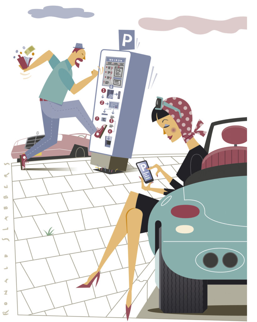 llustratie & Infographic, waarin de verschillende mobiele parkeer apps op de Nederlandse markt worden vergeleken. Illustratie van een moderne jonge vrouw in open sportauto, een man schopt tegen parkeerautomaat