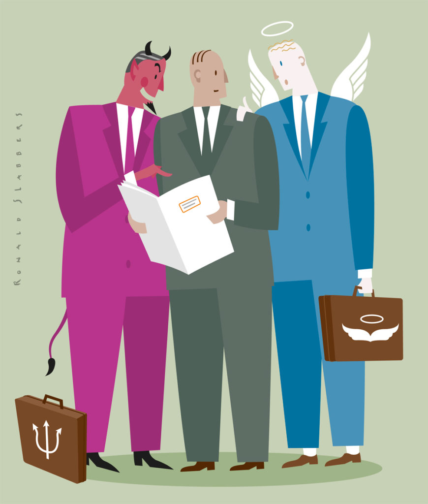 Illustration, Ethics in banking, bank managers, business men discussing good and bad in banking. bank devil, bank angel, bank employee, financial crisis, finance
