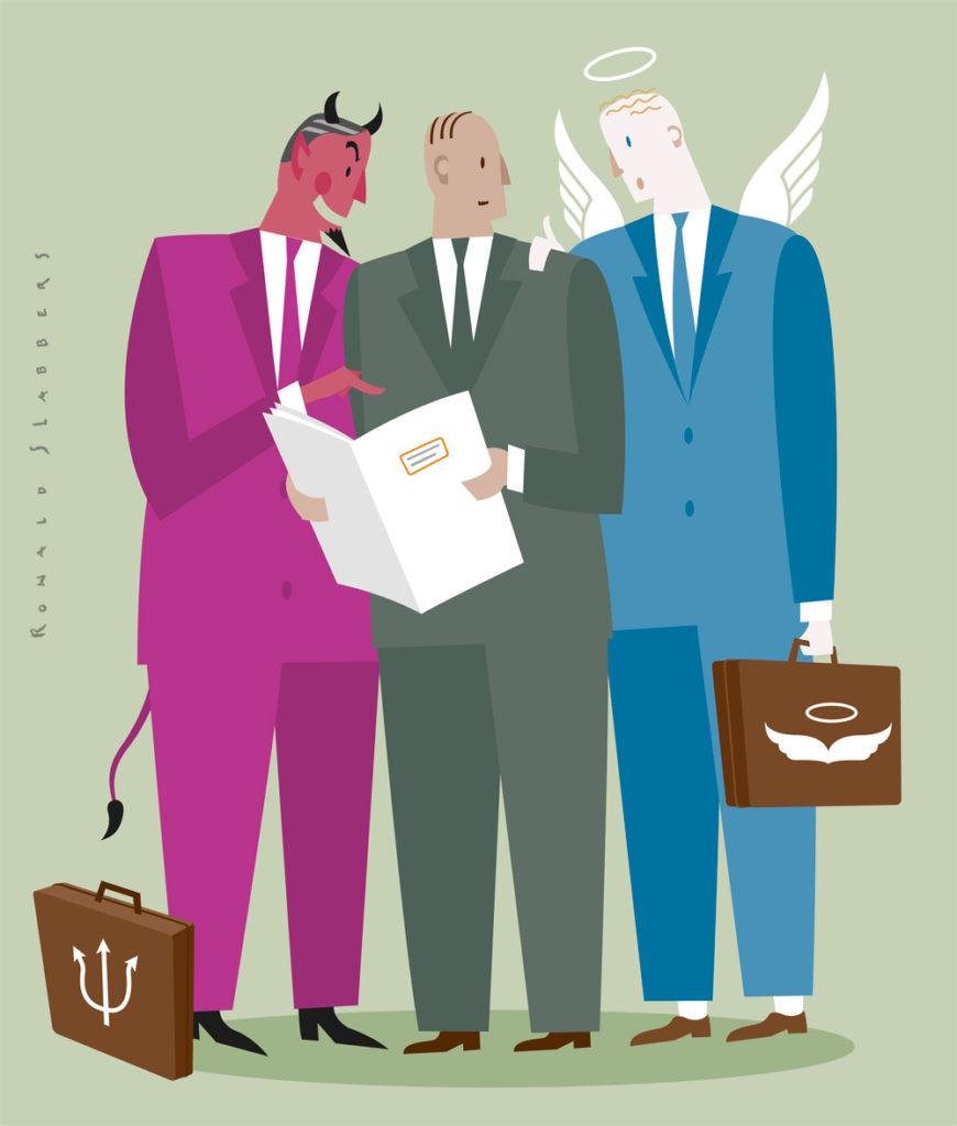 illustratie ethiek bij bankiers. bank managers, employees, medewerkers , mannen in pak, bespreken goed en kwaad van bankieren, financieele crisis, bank duivel, bank engel, financieele crisis, bankzaken