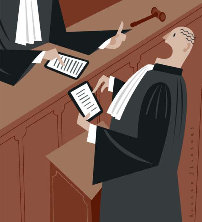 conceptual editorial illustration of court-house, attorney, advocate, lawyer, solicitor, barrister,judge, court, with iPad, tablet