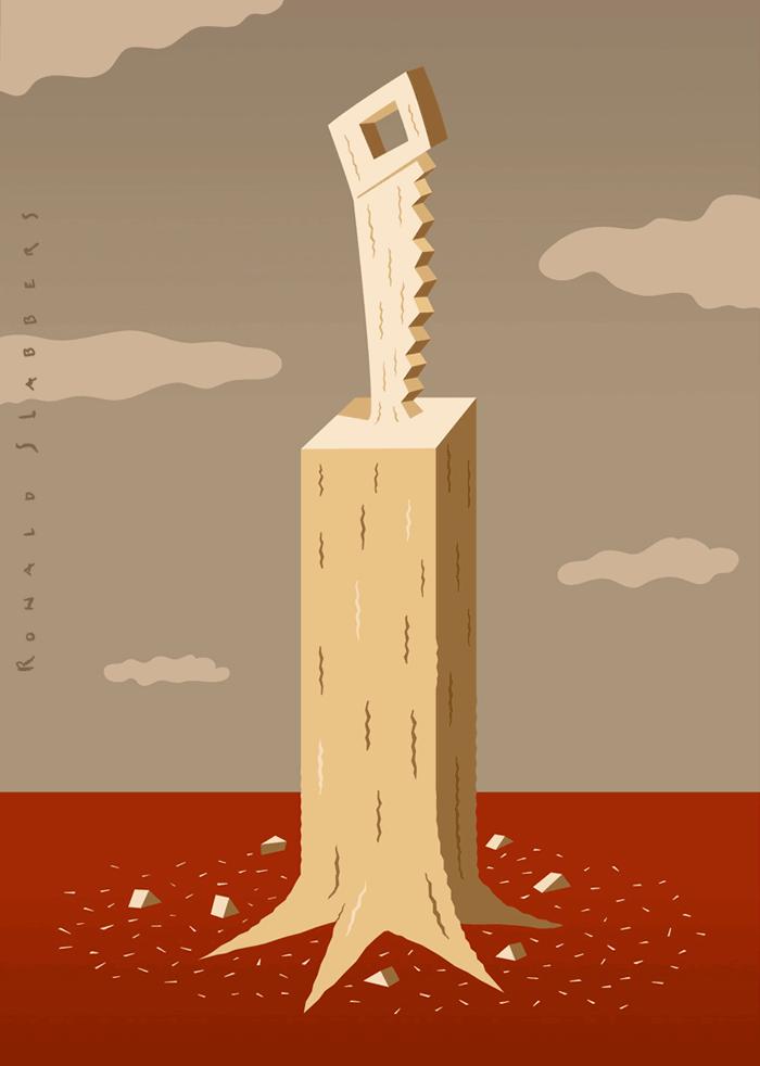 conceptual illustration deforestation, woodcut, saw, Primeval Forest, environment, endangerment, C02