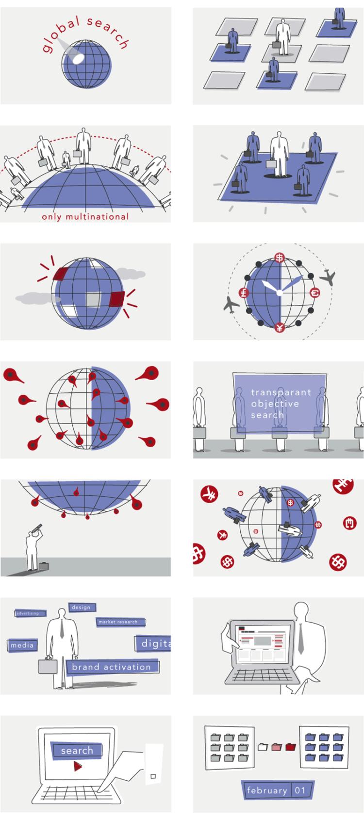 Illustraties, keyframes en ontwerp voor een infographic animatie. Wereldwijde ondernemingen, multinationals, internationale zoekopdracht, de globe als klok, zakenman met laptop, internationaal data verzamelen