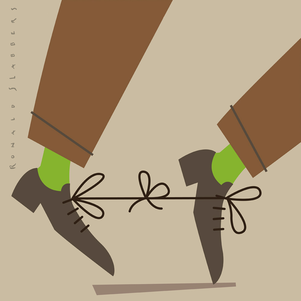 pictogram or spot illustration of men's shoes with tangled laces, shoesstrings. dangerous situation