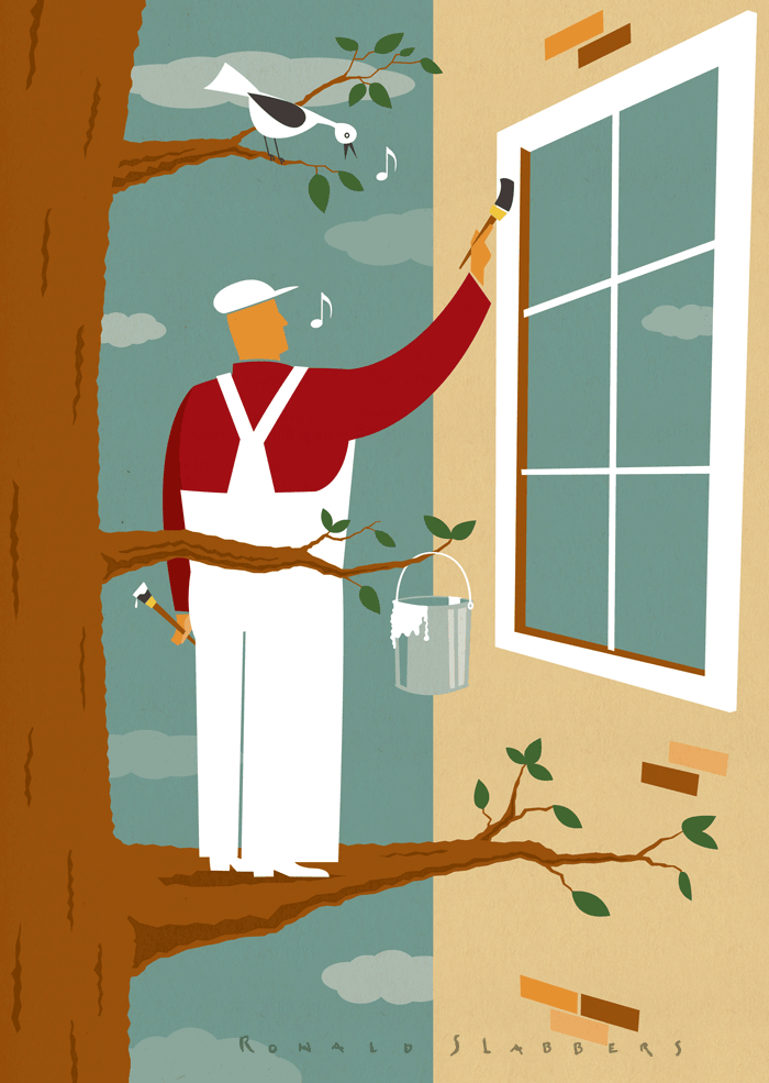 Illustration of sustainable paint developments, water based paints. A house painter painting a window with environmental friendly paints.