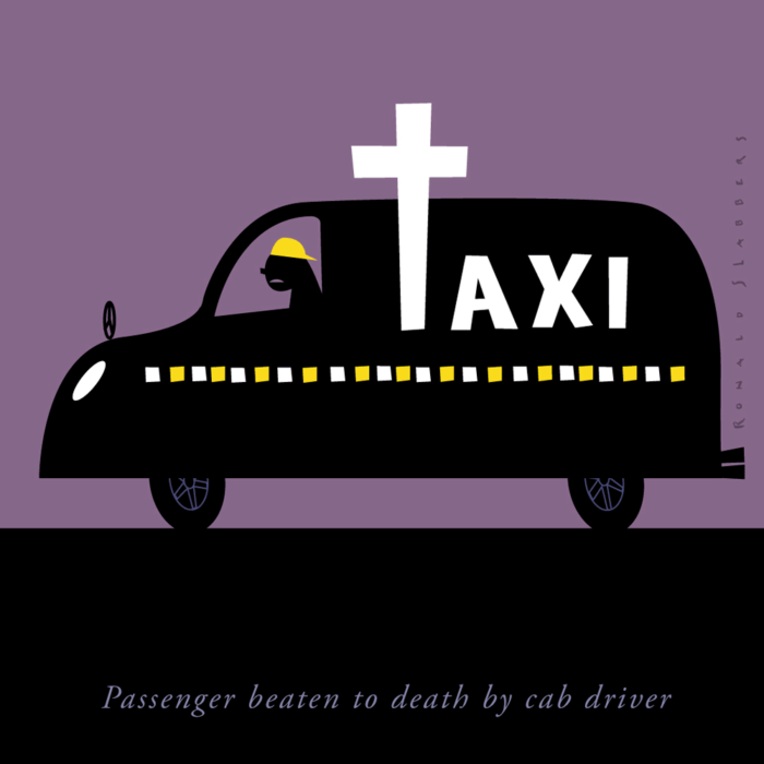 illustration of a taxi, black cab, transformed into a hearse, funeral car