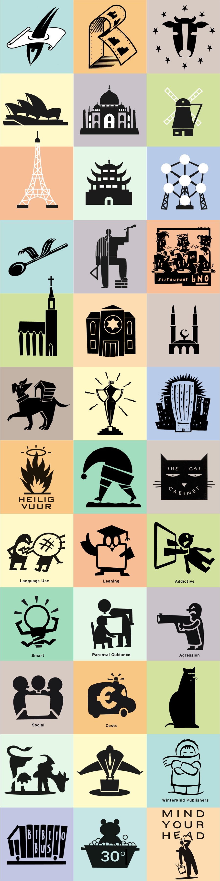 Various Illustrative Pictograms, a diving man, landmarks, tai mahal, Ijffeltower, sydney, opera house, atomium, Dutch windmill, cow, dog in small doghouse