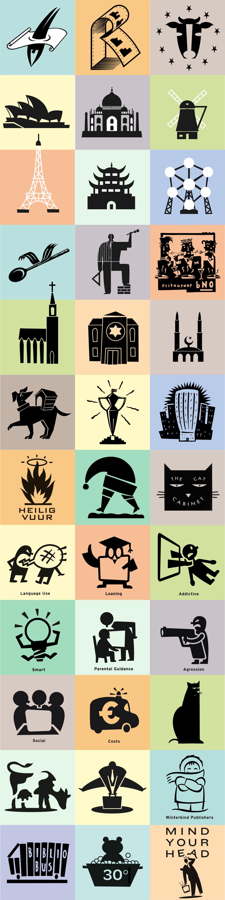 pictogram illustraties in zwart wit, gebouwen, dieren, tidschriften, bedrijven