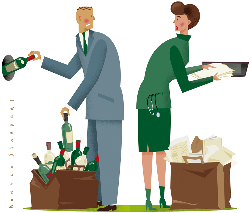 doctors, collegues, with alcohol or medicine addiction. Addiction on the workfloor. a doctor with a doctors bag full of empty wine bottles
