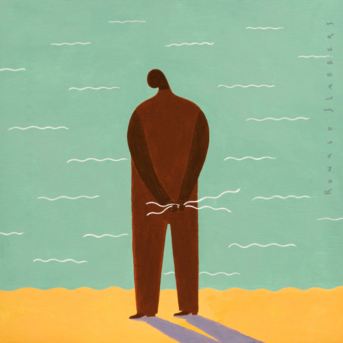 Waves, an acrylic painting on plywood, showing a man on the seashore holding waves in his hand