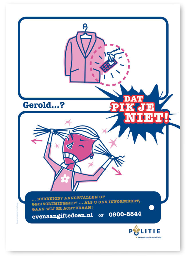Poster for Amsterdam Police about being pickpocketed and how to report a crime. Characterdesign, Character design