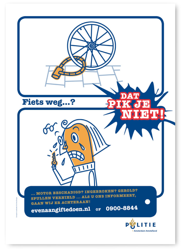 Poster for Amsterdam Police about your bike being stolen and how to report a crime. Characterdesign, Character design