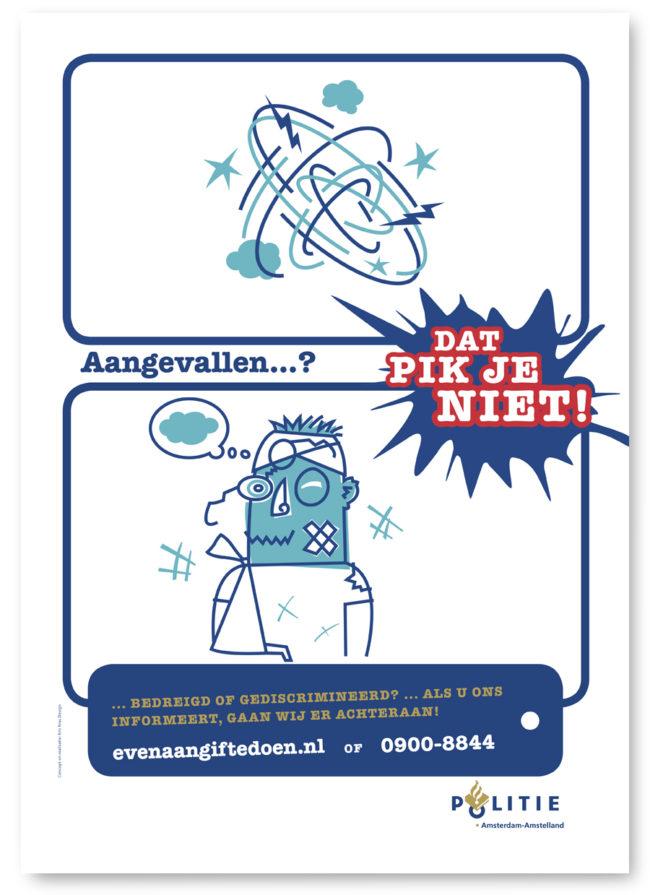 Illustratie en character ontwerp voor een campagne van de de Amsterdamse politie, mupi's, affiches, in elkaar geslagen, aangifte doen