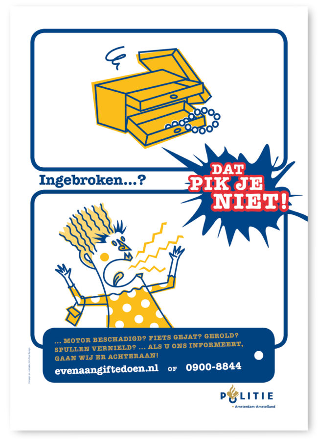 Illustratie en character ontwerp voor een postercampagne van de de Amsterdamse politie, mupi's, affiches, inbraak en aangifte doen