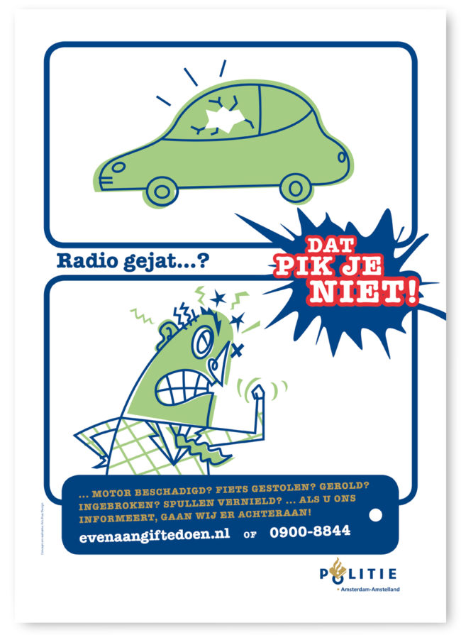 Poster for Amsterdam Police about your car being nicked and how to report a crime. Characterdesign, Character design