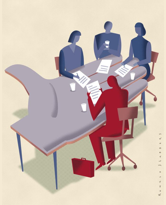 Hulp aan mensen in financieele problemen. Illustraties voor Deltalloyd Foundation jaarverslag. Financieele hulpverleners rondom een tafel in de vorm van een hand