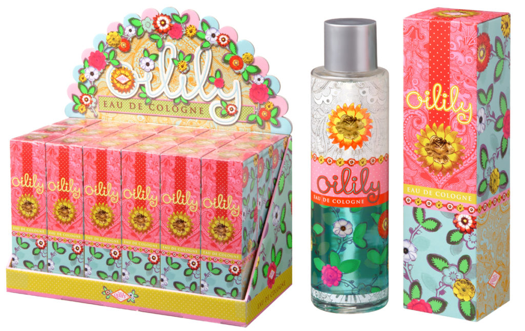 Oilily Eau de Cologne: Counter display, perfume bottle design and packaging design