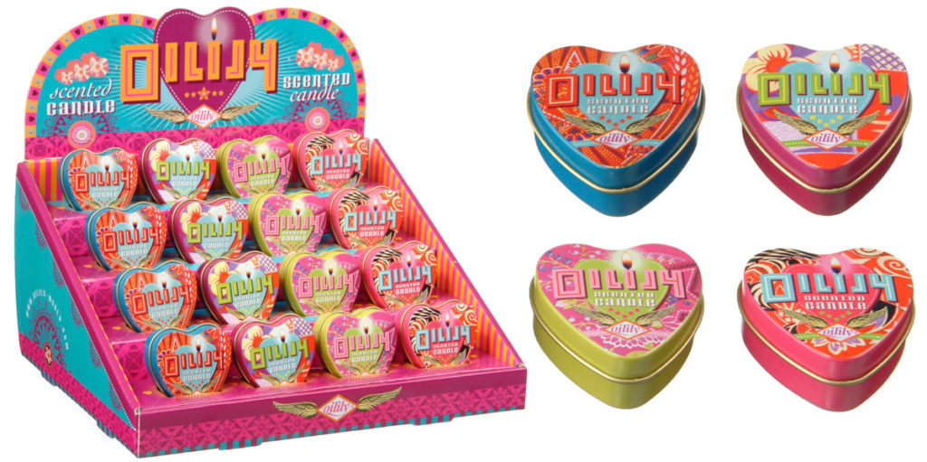 Oilily Scented Candles: counter display and packaging design