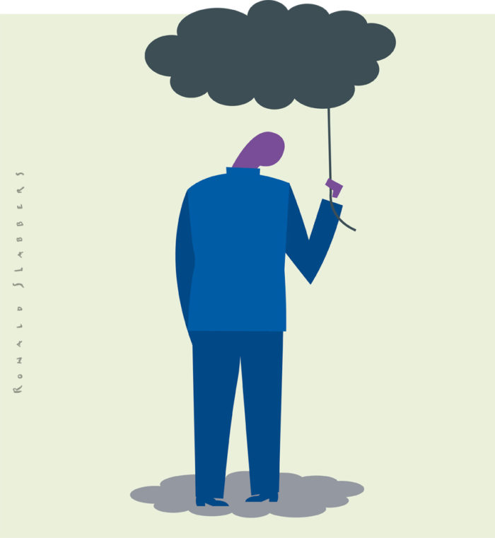 editorial conceptual illustration about depression. A man with a dark cloud above his head