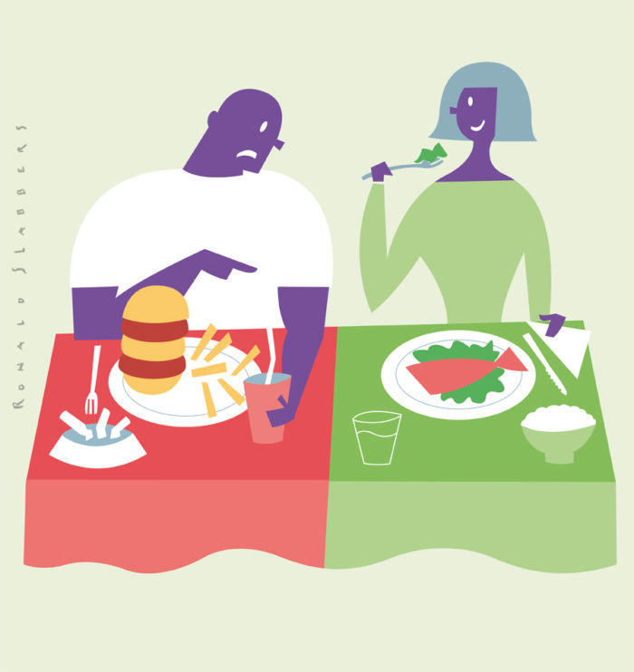 editorial illustration for a brochure on good and bad eating habits. Food habits, fat and low fat